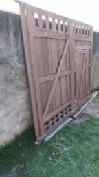 Portão de correr para Garagem madeira Ipê