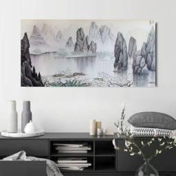 Quadro Paisagem Oriental Pintado à mão 90x50cm / Decoração Zen, Oriental, Arte Japonesa