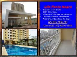 Life Ponta Negra 2 quartos sendo 1 suíte-Andar alto-Linda Vista