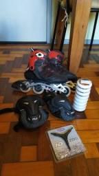 Roller Oxelo + proteções e chave e kit de rodas novas