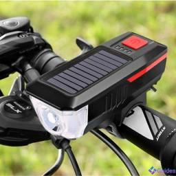 Farol T6 Recarregável Energia Solar / USB com Buzina para bike