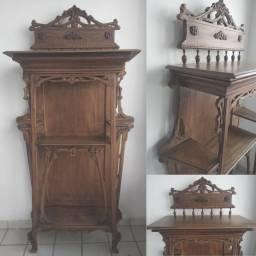 Porta bibelô art nouveau em madeira Peroba