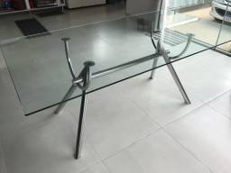 Mesa blindex e cavalete cromado 6 lugares