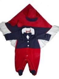 Saída de Maternidade Menino em Plush 4 Peças para Inverno