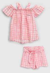 REF108 - Conjunto Infantil Colorittá Menina Xadrez Blusa E Short Rosa