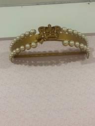 Dossel Dourado com coroa e pérolas - menina