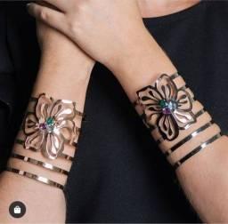 Bracelete flores de ouro semi jóia