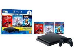PlayStation 4 Mega Pack V15 1TB 1 Controle Preto - Sony com 3 Jogos PS Plus 3 Meses.