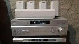 Receiver sony Str-k760p + Dvd player dvp ns53p+kit com 5 caixinhas + sub sw325