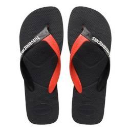 Chinelo Havaianas Casual Masculino Original Sandálias Preto e Vermelho Novo Novo