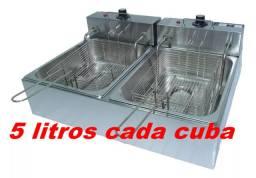 Fritadeira elétrica duas cubas 5 litros cada c/ tampa 220v