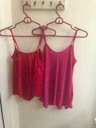 2 Blusas Rosa Pink Alcinha M P
