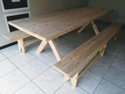 Mesa com bancos para área de festa, entrega imediato!!