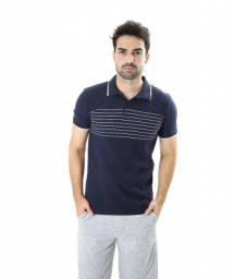 Camisa Masculina Polo Náutica Azul Marinho