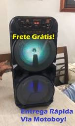 Caixa Musical Portátil (2 Altos falantes - Potencia 700W) + microfone! Frete Grátis!