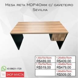 Mesa de Escritório MDP40mm Sevilha c/ gaveteiro / Nova / NFE