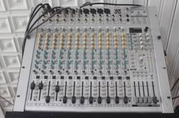 mesa de som 16 canais mixer eurorec ub 2442 fx pro
