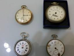 4 Relógios De Bolso Parados Para Consertar - Omega E Outros!