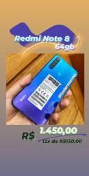 Xiaomi Redmi note 8 64gb e 128gb (novos) até 12x cartão