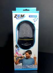 Microfone condensador de mesa com suporte e botao volume.Zem