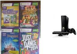 XBox 360 slim 250GB de memória com Kinect, 1 controle e 5 jogos originais