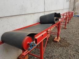 Esteira elétrica transportadora com roletes e lona na cor vermelha