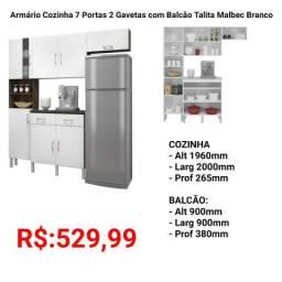 Armário Cozinha 7 Portas 2 Gavetas com Balcão Talita