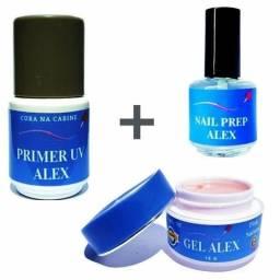 Primer uv + nail prep + gel alex 15g todos da linha alex