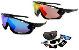 Óculos de ciclismo com 3 lentes estilo jawbreaker - Novo