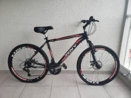Bicicleta seminova WNY aro 26, câmbios Shimano, freio a disco