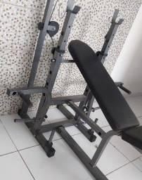 Kit Banco Supino 367 Wct Fitness + Barras, Alteres E Anilhas