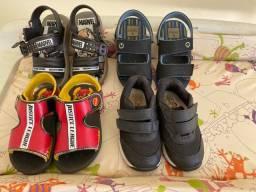 Lote sandálias e tênis