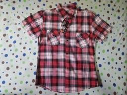 Camisa Polo Xadrez Manga Curta Vermelho P