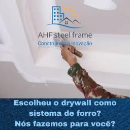 Forro e Parede em drywall e construção em steel frame