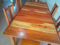 Mesa madeira com 6 cadeiras
