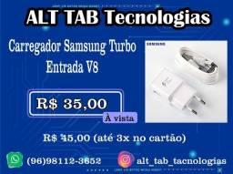 Carregador Samsung Turbo - Entrada Micro USB V8 (novo-lacrado)