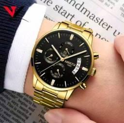 Relógio Masculino Nibosi Dourado Original Com Vidro Safira a Prova d'água na caixa