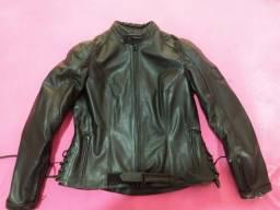 Jaqueta feminina de couro motocicleta
