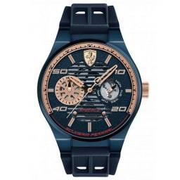Relógio Masculino Ferrari Pulseira de Borracha - Azul