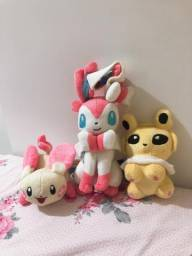 Pelúcias Pokemon Plusle Sylveon e Jolteon