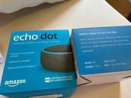 Echo Dot 3ª geração + Base de Bateria, 8 horas de autonomia, Zero, Lacrado