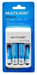 Carregador de pilhas + 4 pilhas recarregáves (2AA + 2AAA) Multilaser