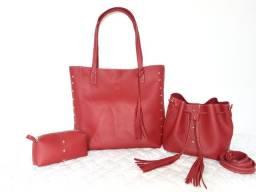 Bolsa Feminina Grande Tipo Sacola vermelho