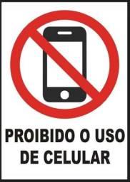 Título do anúncio: Alumínio 15x15cm Proibido o uso de celular Sinalize