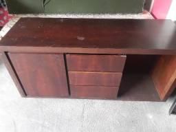 Vendo mesa 6 cadeiras + Balcão de madeira imbuia