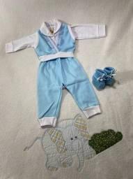 Body para bebês com colete e calça + sapatinho