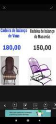 Cadeira de balanço de vimer e macarrão