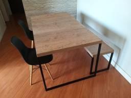 Mesa de jantar, banco e cadeiras New Forest