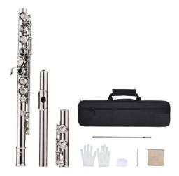 Flauta transversal Cromada prata nova nunca usada (Com Case)