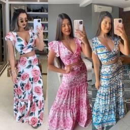 Conjuntos estampados (vestido, saia, Cropped, madrinha, casamento civil, verão)